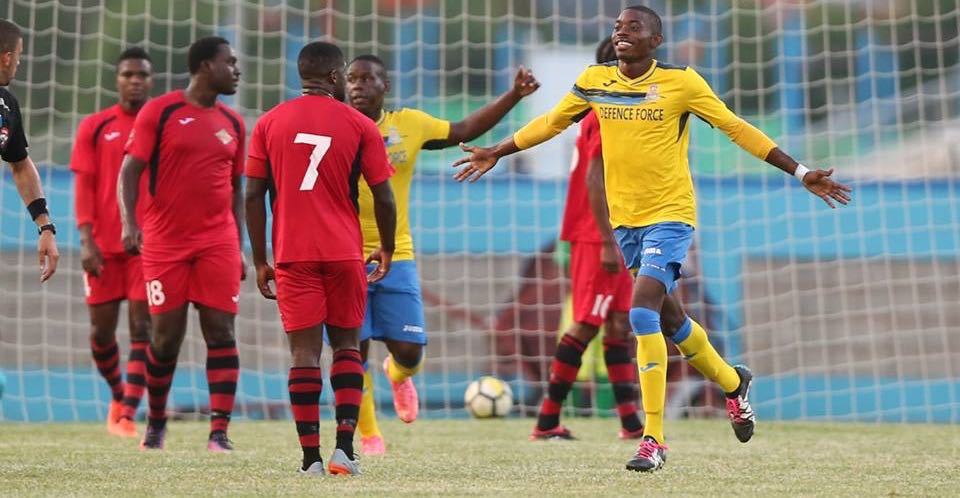 Photo: Defence Force FC forward Dylon King celebrates scoring his second goal against San Juan Jabloteh in a 4-0 win in the 2018 First Citizens Cup in the second game of an Immortelle Group double-header at the Ato Boldon Stadium on Jun. 10, 2018. (Courtesy First Citizens / CAI / Allan V. Crane)
