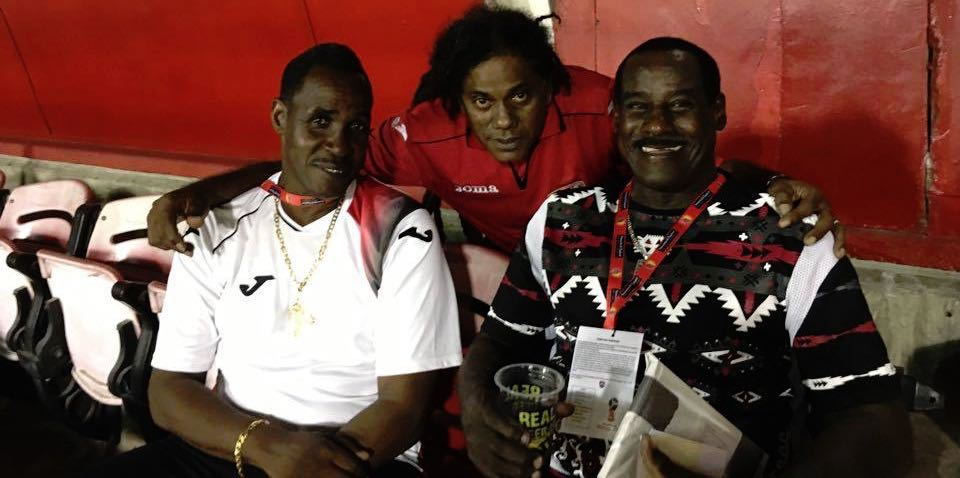 "SWO Member Gary Hector in the middle..with 2 former legends of TnT Football.. On the left is Ron LaForest..and on the right..Everald "" Gally "" Cummings."