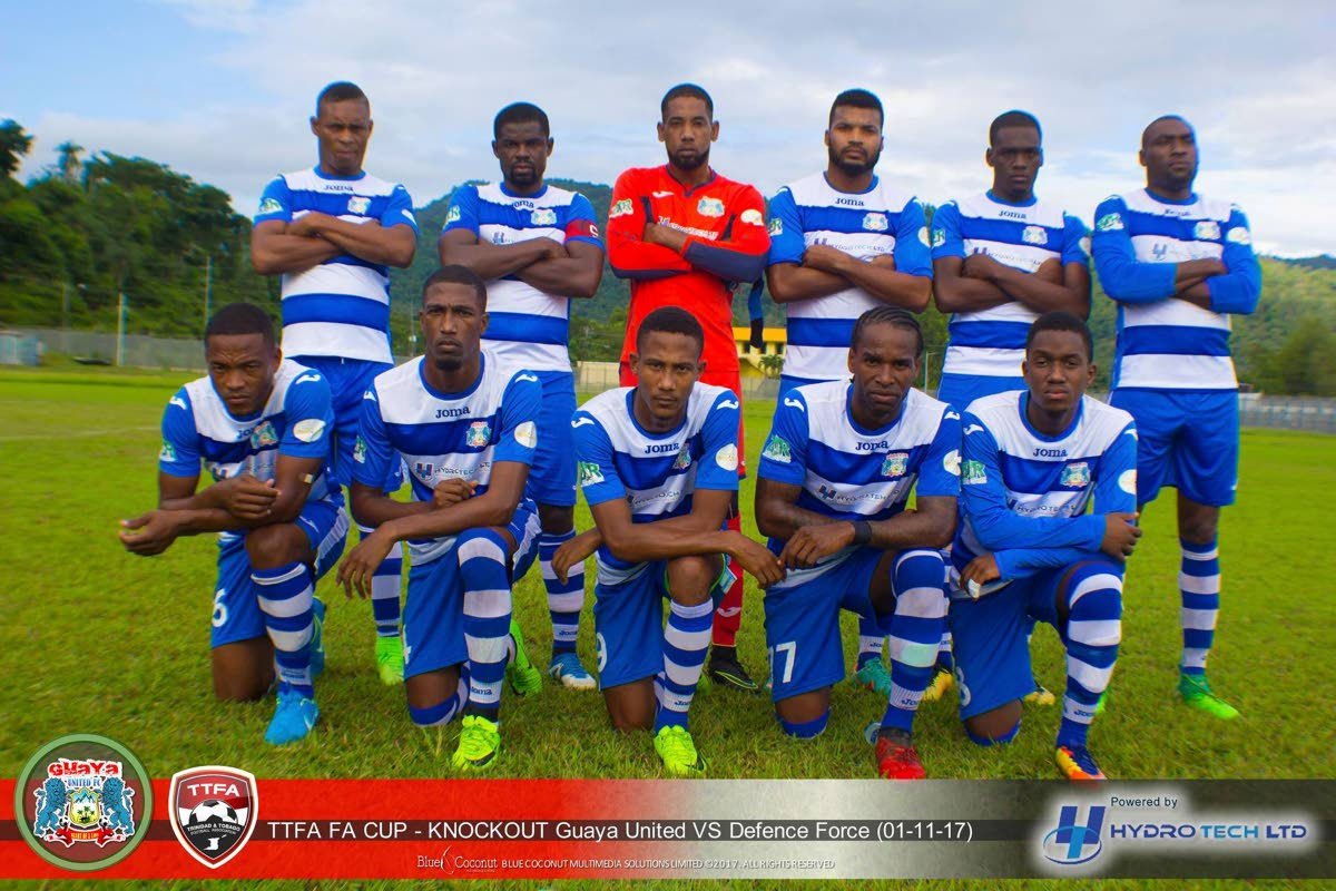 Members of Guaya United pose for a team photo prior to their Super League game against Defence Force recently.
