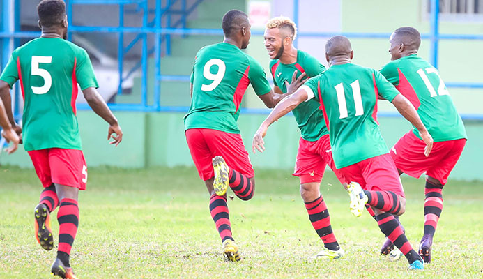 San Juan Jabloteh double scorer Jairo Lombardo, third from left, is congratulated by his teammates during their 4-1 win over Club Sportif Moulien in their Caribbean Club Championship 2017 Group E clash at Victoria Park in Kingstown, St. Vincent on 10 March.