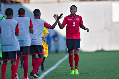 Photo: Trinidad and Tobago left back Keston Julien celebrates his goal against Guatemala in the 2015 CONCACAF Under-17 Championship. (Courtesy MexSport/CONCACAF)