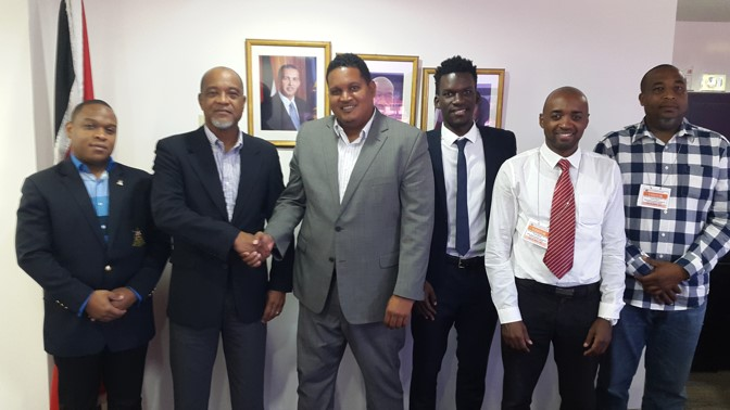 Left to right: Lt. Ryan Ottley (TTSL interim VP), Keith Look Loy (TTSL interim President), Minister Darryl Smith, Camara David (TTSL Secretary), Kester Lendor (TTSL interim Assistant Secretary), Quincy Jones (TTSL interim Board member)