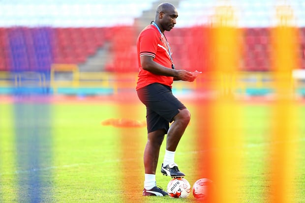 Sol Campbell at a Trinidad and Tobago training session in March. He is working with them as an assistant coach. Photograph: Ashley Allen/CON/LatinContent/Getty Images