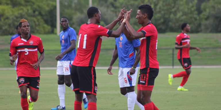 Trinidad & Tobago (pictured) celebrates after scoring against Haiti in a closed-door training match on July 3, 2015, in Fort Lauderdale, Florida. (Photo courtesy of the Trinidad & Tobago Football Association)