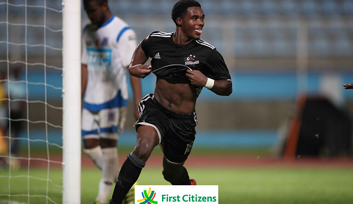 Central FC utility player Tyrik John celebrates scoring the winner against MIC-IT St. Ann's Rangers in their 2017 First Citizens Cup Play-off clash at the Ato Boldon Stadium on Oct. 11, 2017. Central won the game 2-1. (Photo courtesy First Citizens / Allan V. Crane CAI)