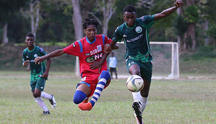 Flow 2017 Youth Pro League action between W Connection (green) and St. Ann's Rangers at Trinity College ground Moka on Sunday 19 March. (Photo courtesy Facebook posting)