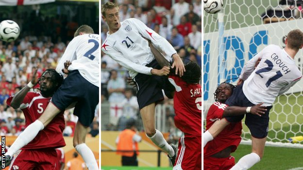 Crouch, now at Stoke, levered himself above the dreadlocked Brent Sancho to score England's first goal against Trinidad and Tobago in their 2006 World Cup group stage match