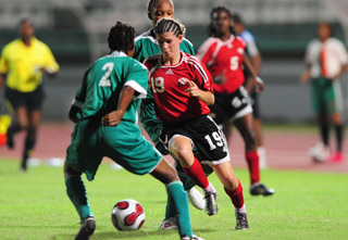 No stopping #19 - T&T captain Anique Walker.