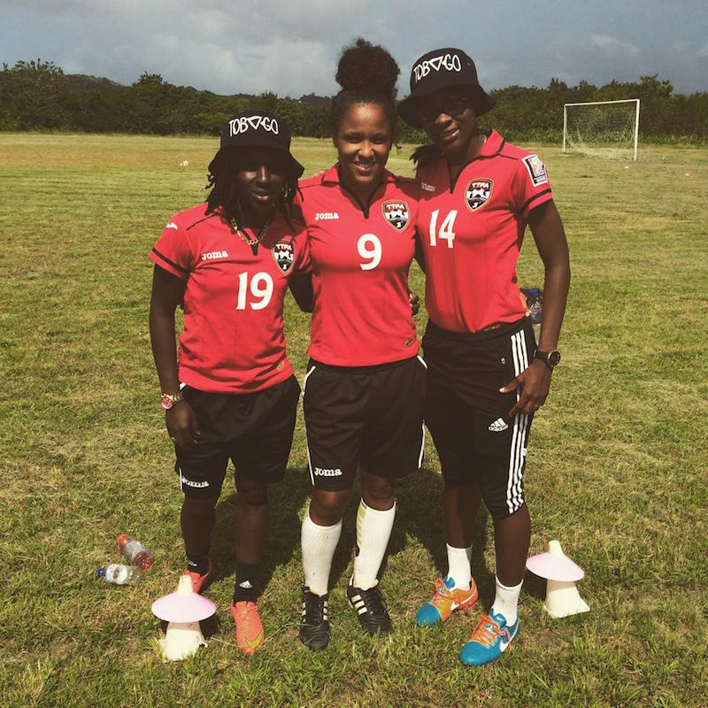 Cordner, Attin-Johnson and Forbes at the Girls Score Goals Coaching Clinic in Tobago