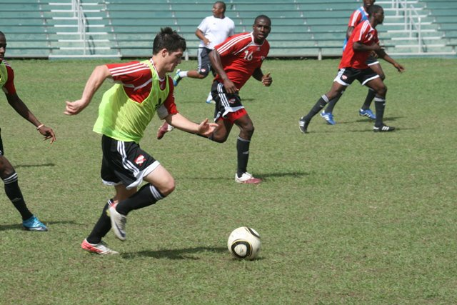 Sean De Silva in training for T&T under 23 team.