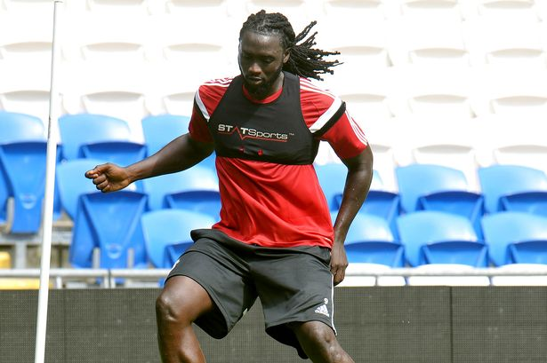 Kenwyne Jones during a Cardiff City open training session