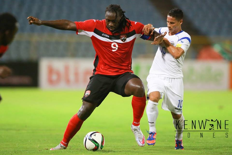 Kenwyne Jones vs Nicaragua at the Hasely Crawford Stadium on October 13, 2015