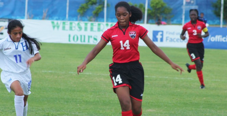 Alexis Fortune in action for T&T at the CONCACAF U-15 Championship.
