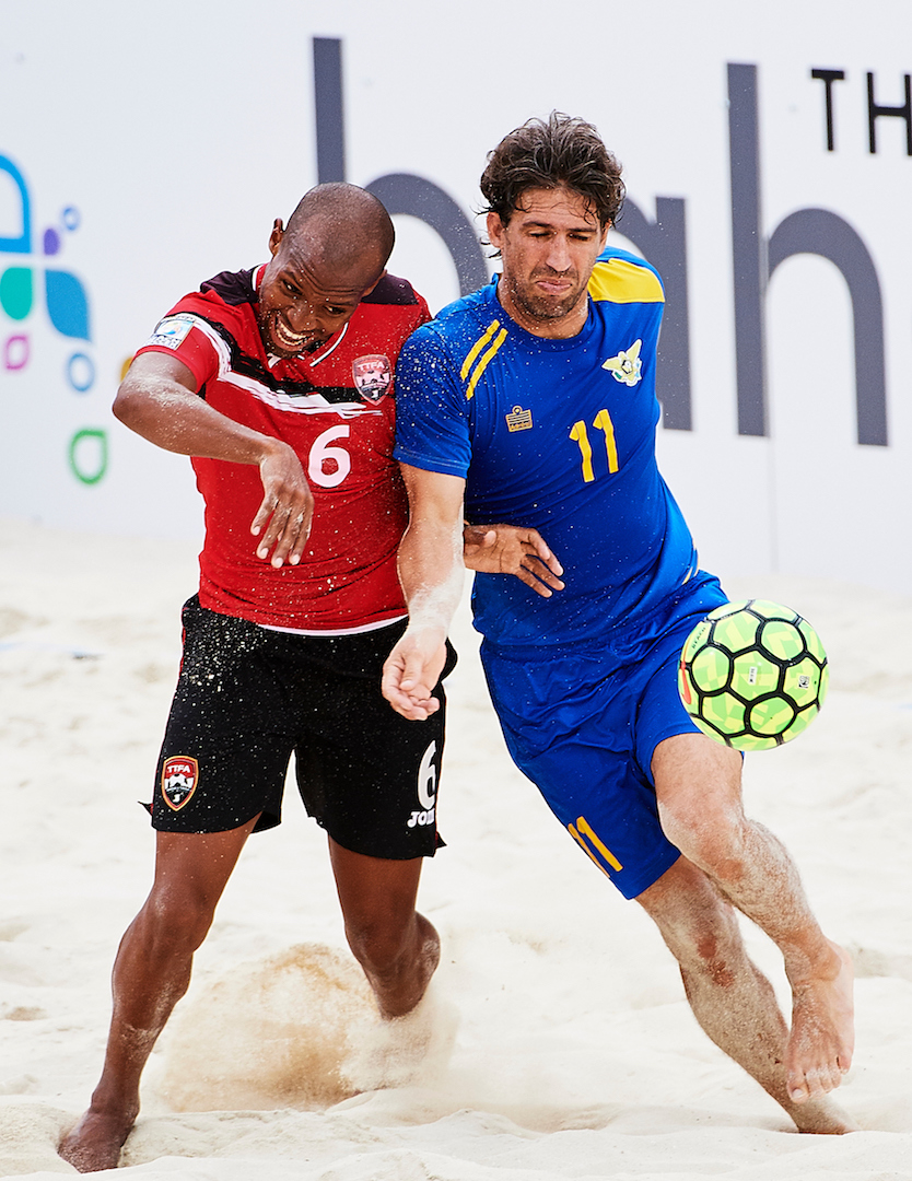 T&T captain Ryan Augustine vs USVI. Nassau , Bahamas – February, 22 Concacaf Beach Soccer Championship Bahamas 2017 at Malcon Park on February 22, 2017 in Nassau, Bahamas. (Photo by Lea Weil)
