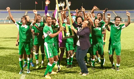 Photo: W Connection captain Gerard Williams, left, collects the Charity Shield 2018 trophy from TT Pro League CEO Julia Baptiste after defeating North East Stars 7-1 at Ato Boldon Stadium on 1 June, 2018.