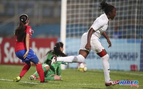 Photo: Trinidad and Tobago forward Dennecia Prince (right) celebrates the opening goal against Costa Rica during 2018 CONCACAF Women's Under-20 Championship action at the Ato Boldon Stadium in Couva on 22 January 2018. ...(Courtesy Allan V Crane/CA-Images/Wired868)
