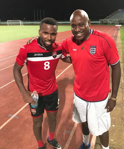 Photo: Dion La Foucade (right) poses with Soca Warriors captain Khaleem Hyland. La Foucade was appointed as TTFA technical director on 15 January 2020.