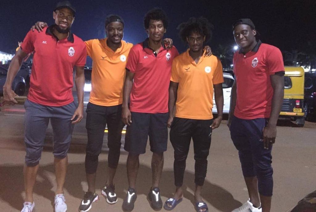 T&T footballers (from left) Randanfah Abu Bakr, Marvin Phillip, Willis Plaza, Taryk Sampson and Robert Primus.