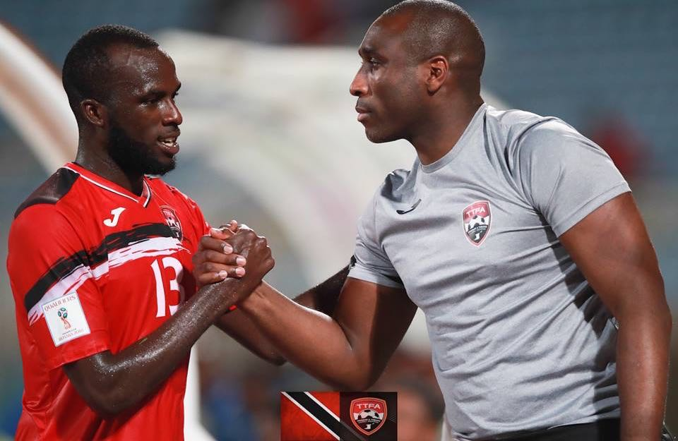 Jamille Boatswain is congratulated by assistant coach, Sol Campbell after being substituted during the international Friendly between Trinidad & Tobago and Barbados at the Ato Boldon Stadium, Couva. Photo: Allan V. Crane/CA-images