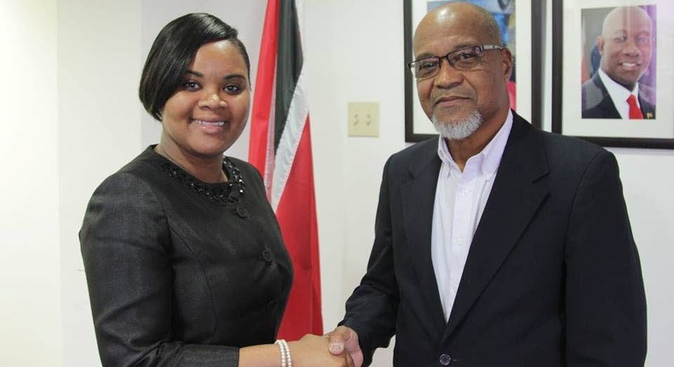 Minister of Sports Shamfa Cudjoe, shakes hands with TTSL president Keith Look Loy, after the two met yesterday.