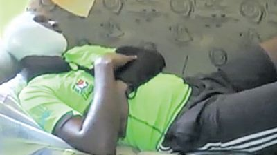 Injured football referee Michael London resting at home over the weekend.
