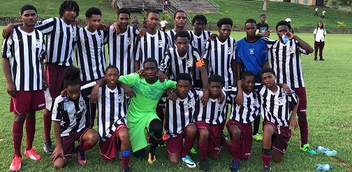 South Champs Moruga Secondary… Back Row(L-R) Jeremy Steeling, Devin Arrindel, Damon La Fortune, Jeremiah John, Kaylon Ayres, Tyrieke Lucas, Elec Edwards, Kareem Agaard, Kriston Stoute, Mont-Zion Bain. Centre (L-R) Matthew Lee Cummings. Front (L-R) Santana Smith, Tyrel Thompson, Dwight Douglas, Jason Ochoa, Jalen Sambury, Akeem Arrindel, Tyrell Joefield