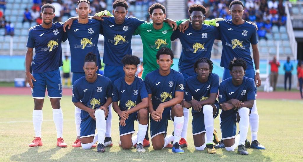 THE CONTROVERSIAL UNIFORM! Naparima College's starting lineup ahead of SSFL Digicel Cup between Naparima College and Presentation College at the Manny Ramjohn Stadium, Marabella on Saturday. naps won 5-4 on penalties after the game ended 1-1 in regulation time.  CA-images