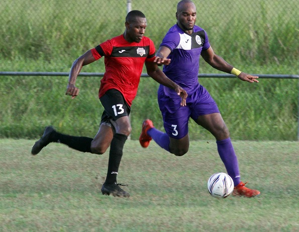 San Fernando Giants (Red) edged Police FC (Purple) 2-1, at the Manny Ramjohn Stadium training grounds, Marabella,on Sunday.