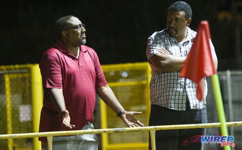 Photo: Morvant Caledonia United coach Jamaal Shabazz (left) and TTFA president and W Connection owner David John-Williams chat during a Pro League contest at the Hasely Crawford Stadium training ground on 20 January 2017. (Courtesy Sean Morrison/Wired868)