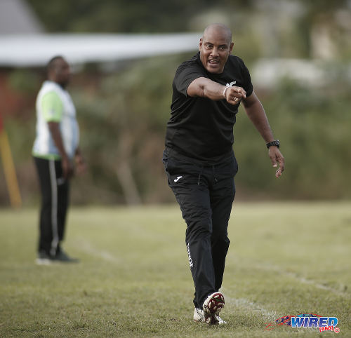 Photo: QPCC coach Shawn Cooper shows his frustration during TTSL action against Guaya United in Guayaguayare on 5 August 2018. (Copyright Annalicia Caruth/Wired868)