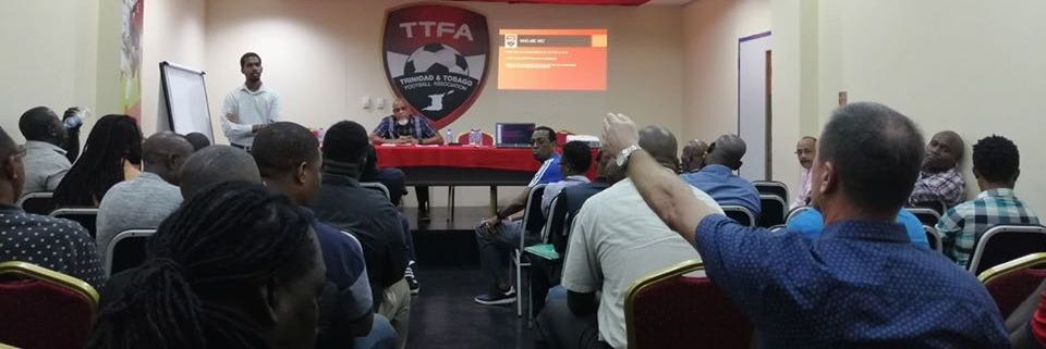 Photo shows Men's team head coach Terry Fenwick making a point during the meeting on Friday at the Ato Boldon Stadium.