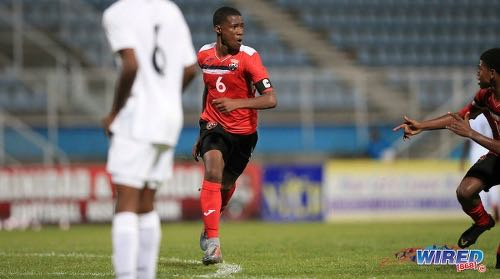 Photo: Trinidad and Tobago captain and midfielder Jaheim Marshall (centre) wheels away after his goal against Panama during TTFA U-15 Invitational action at the Ato Boldon Stadium, Couva on 17 July 2019. (Copyright Allan V Crane/CA-images/Wired868)