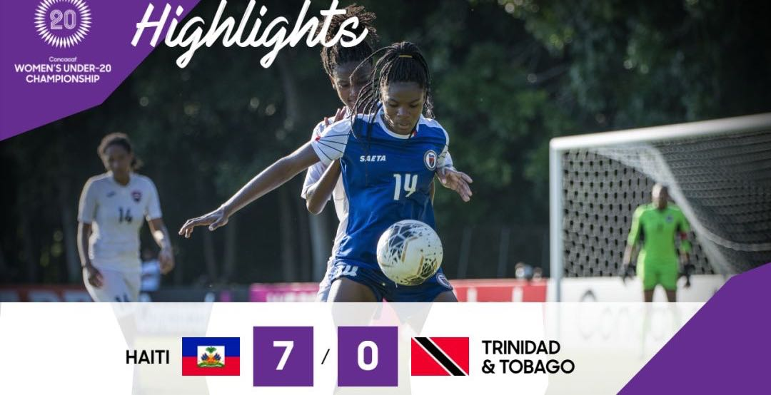 Photo: Trinidad and Tobago players Ranae Ward (left) and Shadi Cecily Stoute (right) double-team Haiti midfielder Dougenie Joseph during CONCACAF Women's Under-20 Championship action at the Ato Boldon Stadium in Couva on 18 January 2018. Haiti won 3-2. (Courtesy Sean Morrison/Wired868)