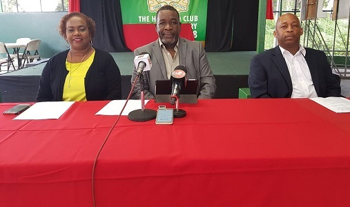 Members of the United TTFA from left, Susan Joseph-Warrick, William Wallace and Clynt Taylor at yesterday's press conference at the Harvard Sports and Cultural Club in Port-of-Spain.