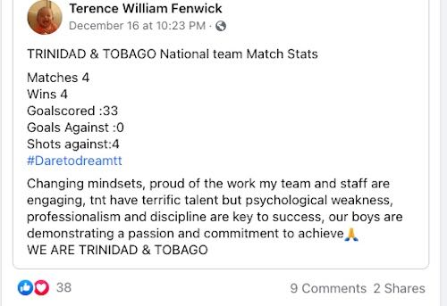 Image: Soca Warriors head coach Terry Fenwick updates fans on the activity of the national senior team.