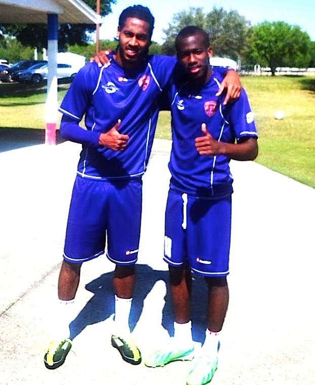 Photo shows Dwane James and his brother Kevin Molino at Orlando City last year.