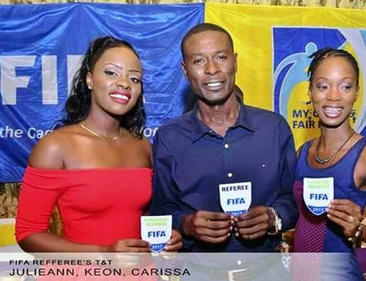 REWARD FOR HARD WORK: Tobago referees, left to right, Julieann Mc Dougall, Tobago Referee of the Year Keon Yorke and Evelyn Carissa Douglas Jacob proudly display their FIFA badges.