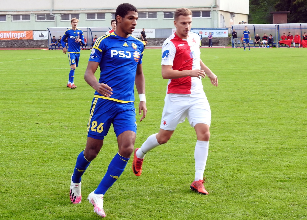 FC Vysočina Jihlava B's Justin Araujo-Wilson in action during a match against SK Hanácká Slavia Kroměříž on October 3rd 2020.