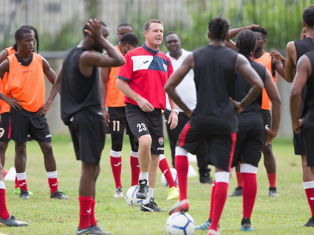 Head Coach Terry Fenwick conducts his first full training session at the Police Barracks, St. James on Friday, July 3rd 2020
