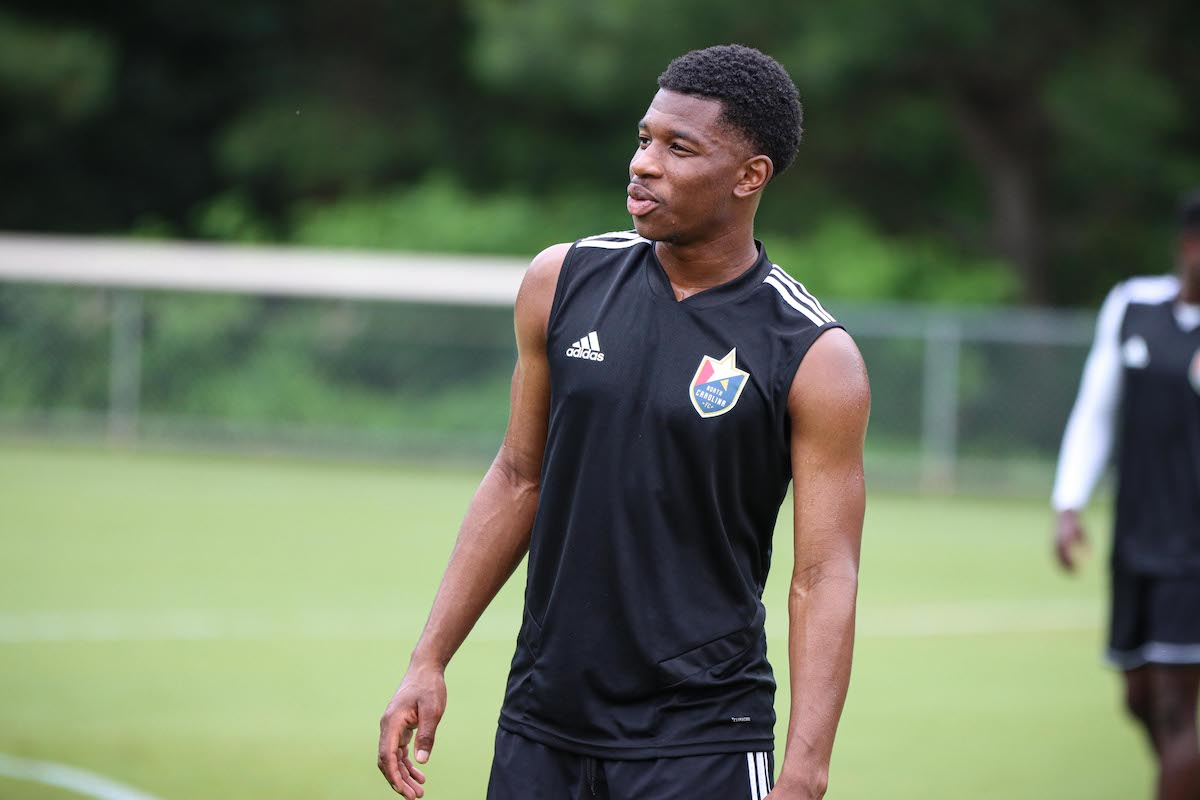 Dre during training with his club North Carolina FC