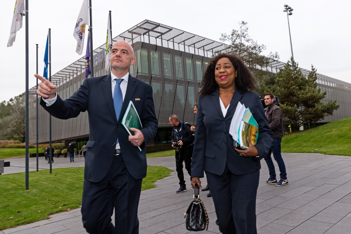 FIFA Secretary General Fatma Samoura, right, with FIFA's president, Gianni Infantino. PHOTO: Philipp Schmidli/Getty Images)