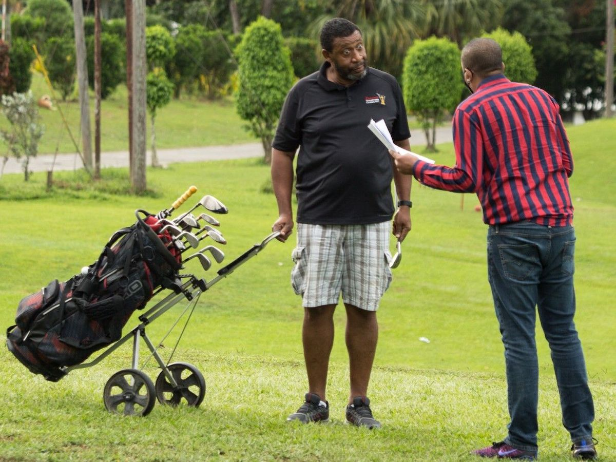 Guardian Media Lead Editor, Investigative Mark Bassant grills former TTFA president David John-Williams during an interview at the Brechin Castle Golf Course, Couva, recently. PHOTO: Abraham Diaz