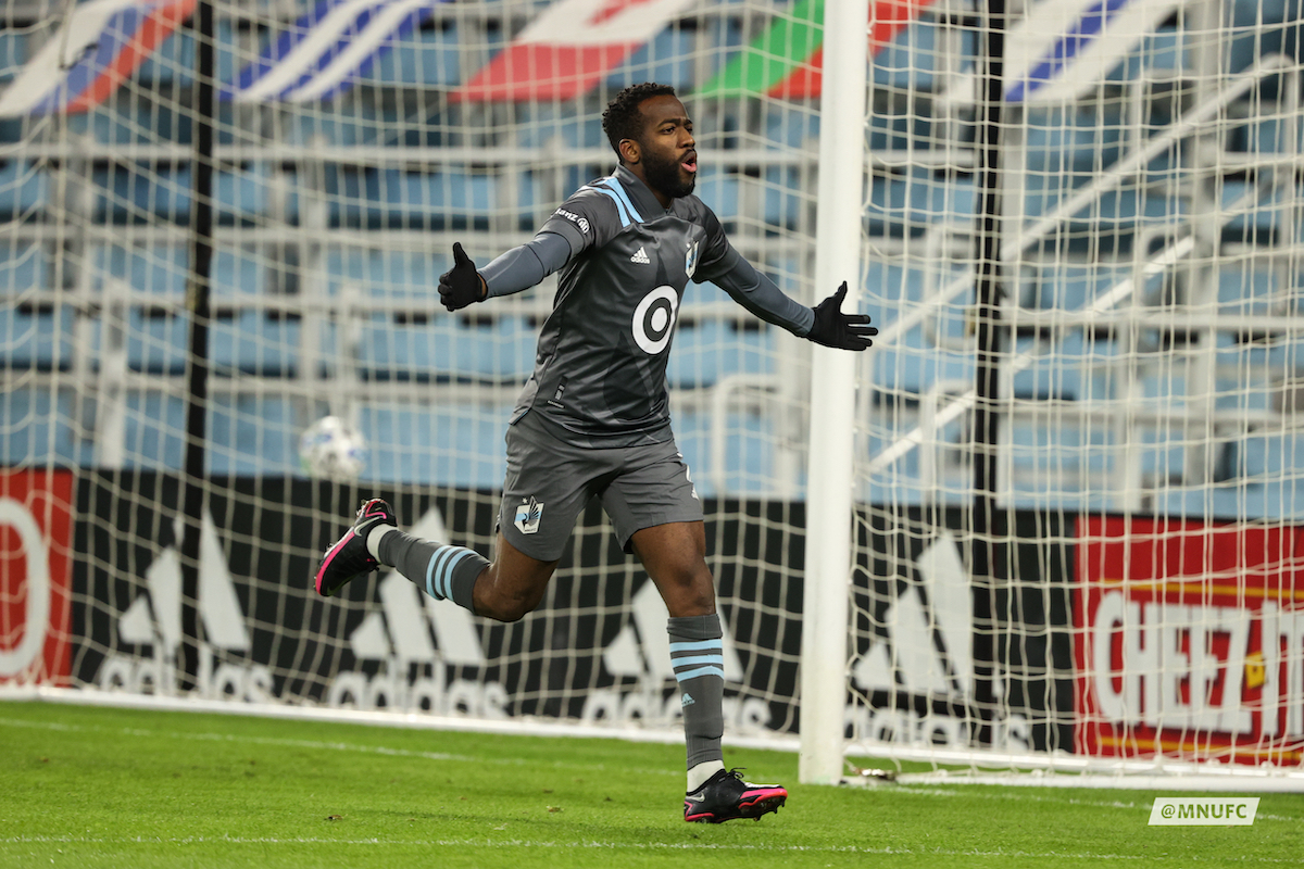 Minnesota United midfielder Kevin Molino celebrates his first-half goal in the MLS Cup Playoffs first-round game against the Colorado Rapids at Allianz Field on Sunday, Nov. 22, 2020. (Courtesy of Minnesota United)