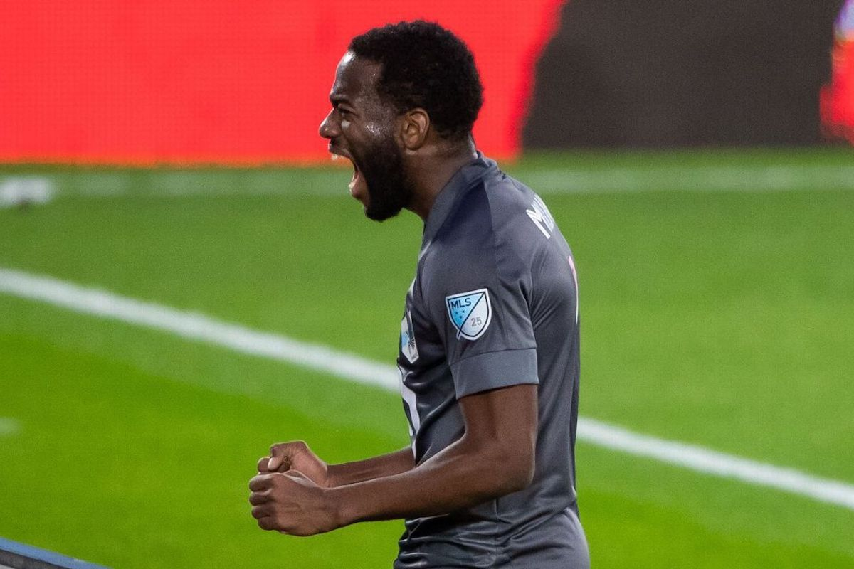 Minnesota United's Kevin Molino celebrates after scoring against FC Dallas on Wednesday, September 9th 2020 at  Allianz Field,  Saint Paul, Minnesota
