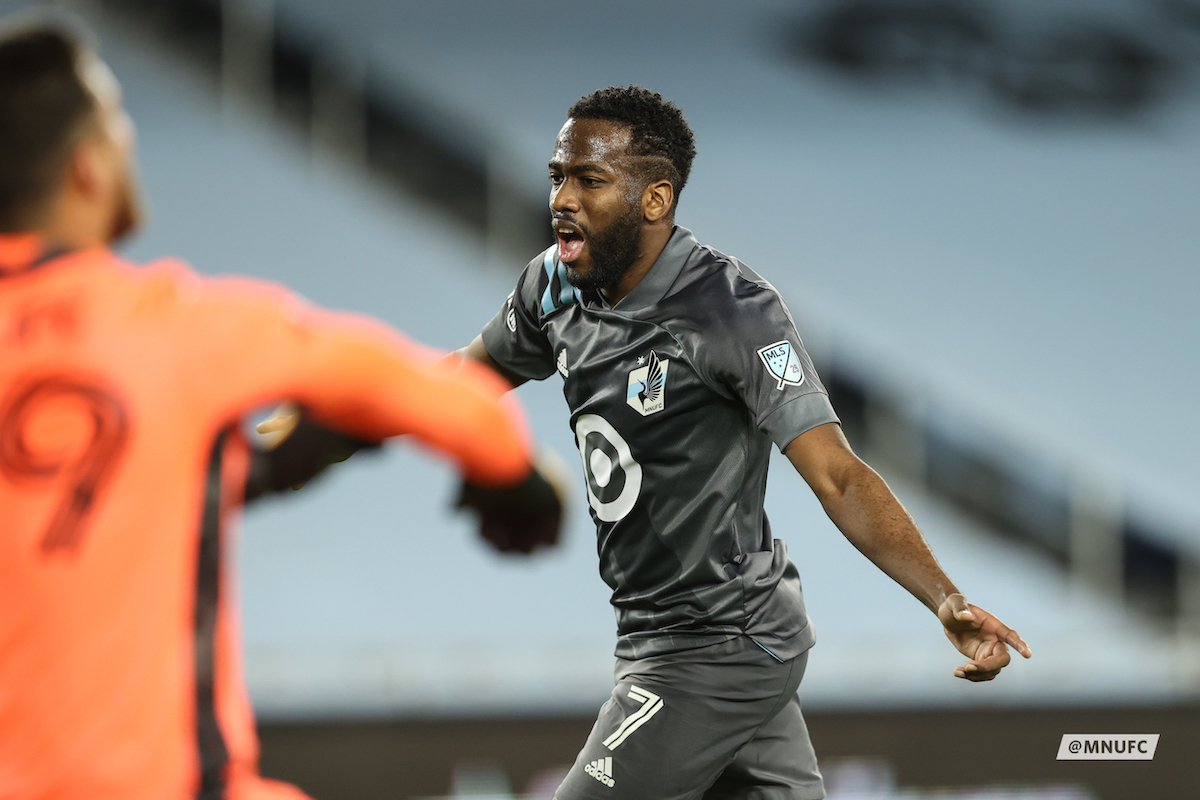 Minnesota United midfielder celebrates after scoring a goal against FC Dallas at Allianz Field, Saint Paul, MN on Sunday, November 8th 2020.
