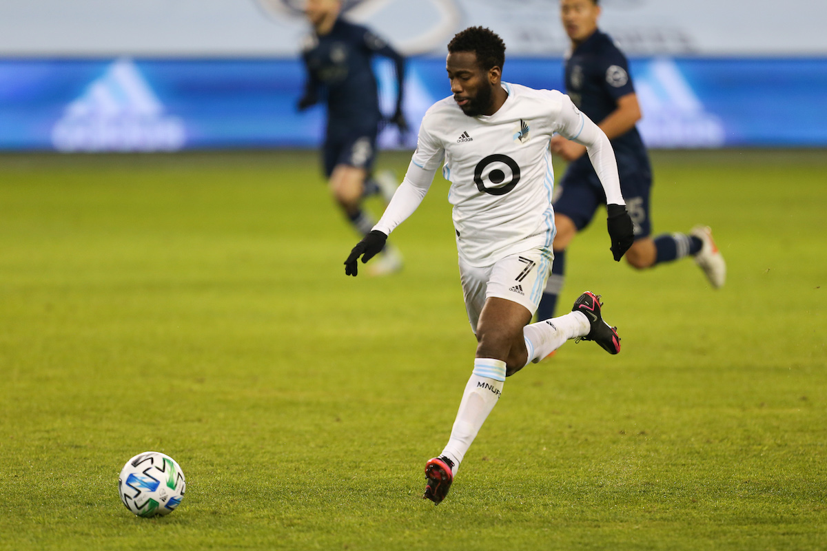 Minnesota United midfielder Kevin Molino (7) makes a run in the second half of the MLS Western Conference Semifinal between Minnesota United FC and Sporting KC on December 3, 2020 at Children's Mercy Park in Kansas City, KS. (Photo by Scott Winters/Icon Sportswire via Getty Images)