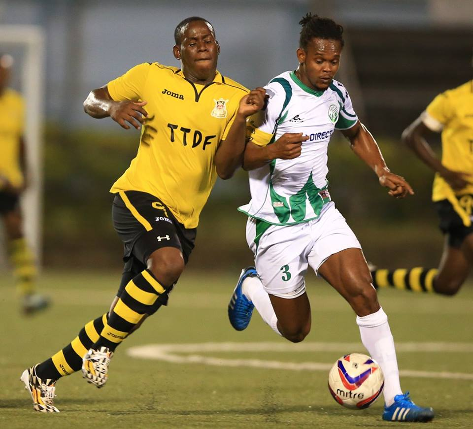 Devorn Jorsling (left) became the T&T Pro League's all-time leading goalscorer on April 12, 2015, in a 4-2 win over Point Fortin Civic FC. (Photo: Allan V. Crane)