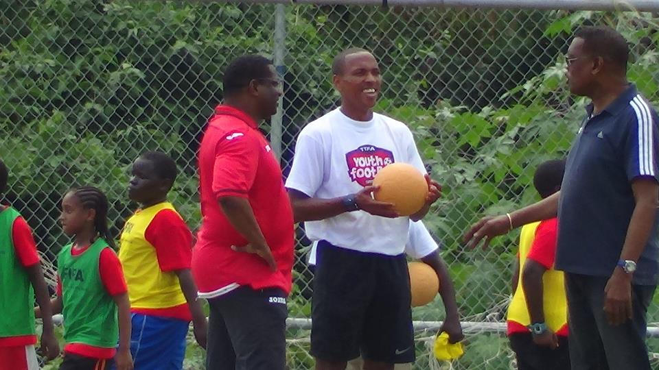 Densill Theobald at TTFA's Youth Clinic Morvant