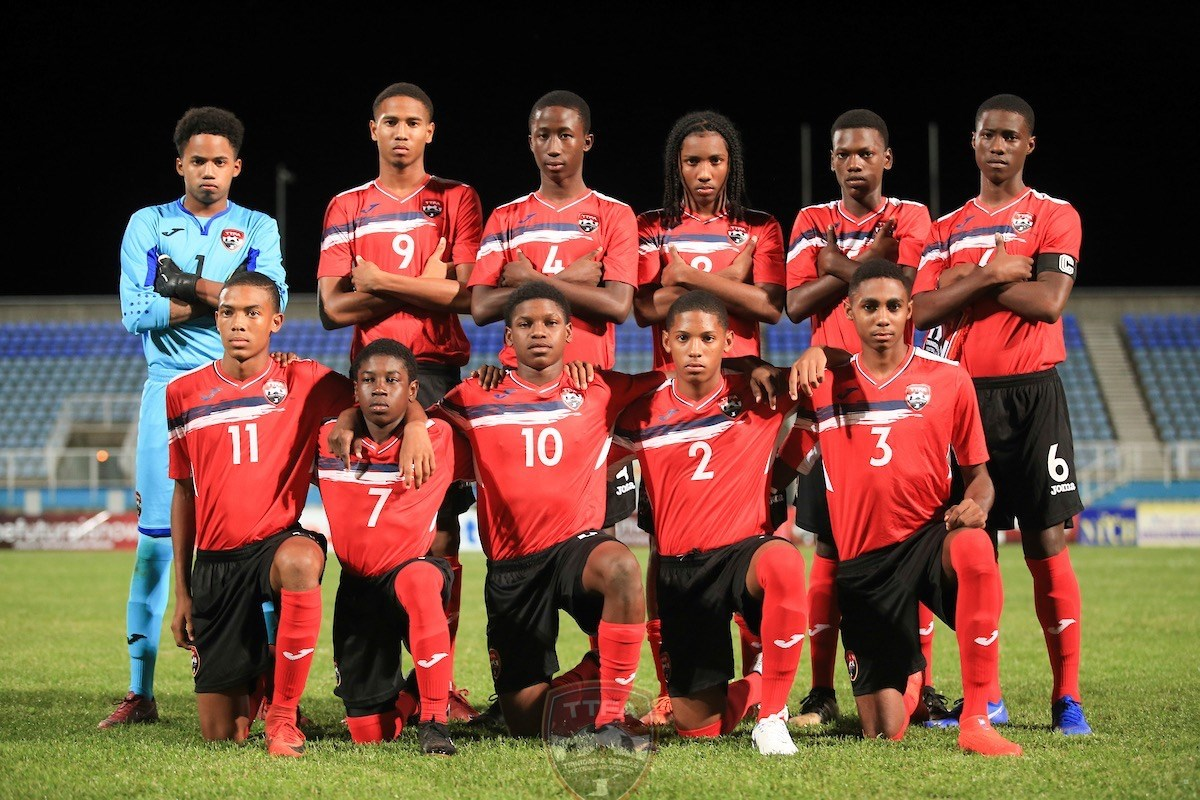 Trinidad and Tobago Boys U-15 team pose for a photo before facing Panama at the TTFA Youth Invitational Tournament at Ato Boldon Stadium, Couva on July 17th 2019.